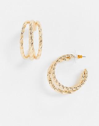 ASOS DESIGN hoop earrings in ribbed triple row design in gold tone