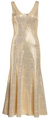 St. John Evening Paillette Shimmer Knit Dress