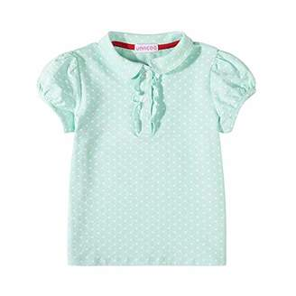 UNACOO Toddler Girls Pure Cotton Short Sleeves Polo Shirt with Picot Collar (4/5T