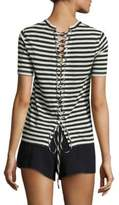 A.L.C. Alber Striped Lace-Up Linen Tee
