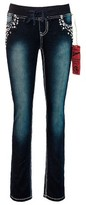Seven7 Girls' Knit Waist Embellished Skinny Jean - Blue 8Plus