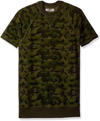 2xist Terry Short Sleeve Crew Neck Sweatshirt Olive Camo