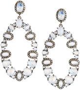 Bavna Rainbow Moonstone & Diamond Oval Drop Earrings