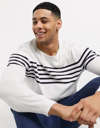 Esprit stripe jumper in white and navy