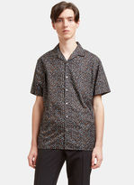 Lanvin Men's Printed Short Sleeved Bowling Shirt In Black