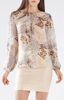 BCBGMAXAZRIA Evanna Paillette Feather Print Blouse
