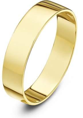 Theia Unisex Heavy Flat Shape Polished 9 ct Yellow Gold 4 mm Wedding Ring - Size O