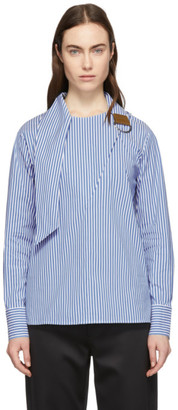 Tibi Blue and White Asymmetric Tie Collar Blouse