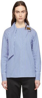 Tibi Blue and White Asymmetric Tie Collar Blouse