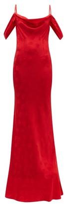 Rat & Boa - Florentina Cowl-neck Floral-jacquard Maxi Dress - Womens - Red