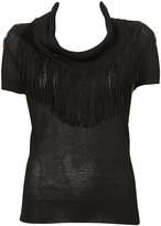 Knitted Fringed Cowl Neck Top