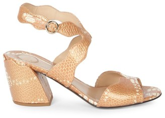 Chloé Laurena Snakeskin-Embossed Metallic Leather Sandals