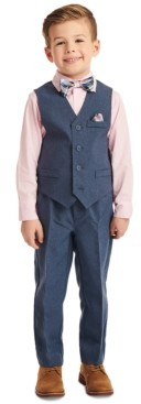 Nautica Little Boys 4-Pc. Heather Poplin Vest Set