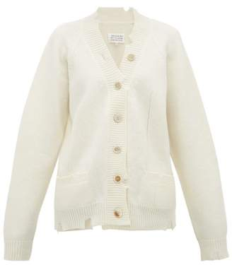 Maison Margiela Distressed Wool Cardigan - Womens - Ivory