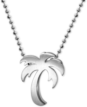 """Alex Woo Palm Tree 16"""" Pendant Necklace in Sterling Silver"""