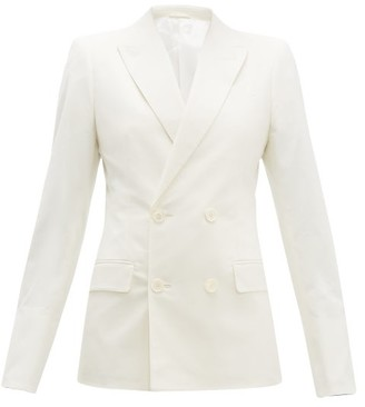 Connolly - Double Breasted Cotton Blend Blazer - Womens - Cream