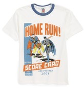 Junk Food Clothing Boy's Batman, Robin & Superman Home Run Baseball T-Shirt