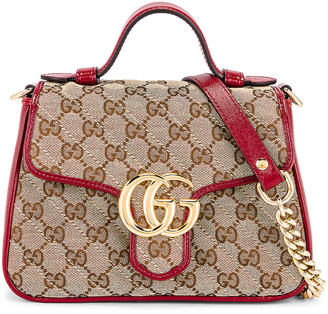 Gucci Top Handle Bag in Beige Ebony & New Cherry Red | FWRD