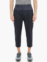 Helmut Lang Navy Pleated Cotton Trousers
