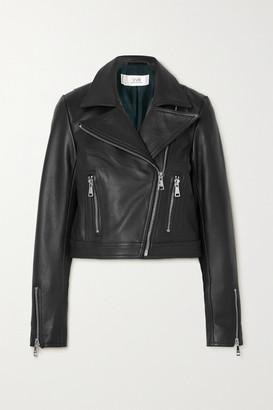 Victoria Victoria Beckham Cropped Textured-leather Biker Jacket - Black