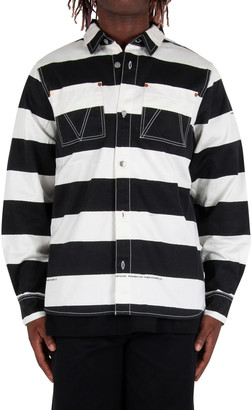 Vyner Articles Stripy Print Wit Worker Shirt - Black/white
