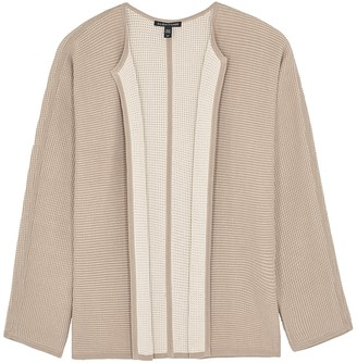 Eileen Fisher Taupe waffle-knit silk-blend cardigan