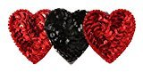 Caravan French Automatic Decorated Barrette, Reds and Black