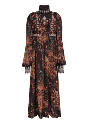 Paco Rabanne Long Sleeve Floral Lace Trim Pleated Dress