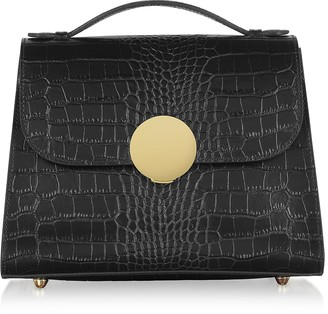 Bombo Croco Embossed Leather Top-Handle Satchel Bag w/Strap