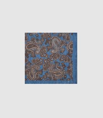 Reiss MOROCCO SILK PAISLEY PRINTED POCKET SQUARE Blue