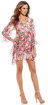 Gianni Bini Wave Chiffon V-Neck 3/4 Sleeve Floral Shift Dress
