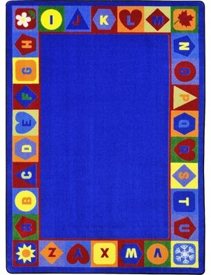 "Joy Carpets Seasons and Shapes Alphabet Tufted Blue Rug Rug Size: Rectangle 5'4"" x 7'8"""