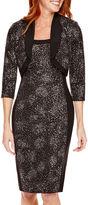 R & M Richards R&M Richards 3/4-Sleeve Sequin Bolero Jacket Dress