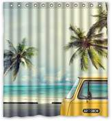 "Shower Curtains Fashionable Bathroom Collection-Custom Vintage Car On The Beach With A Surfboard Custom Shower Curtain Bath Decor Curtain 66 "" X 72 """
