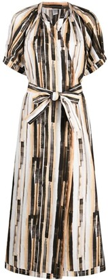 Eleventy Painterly-Print Tied-Waist Dress