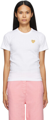 Comme des Garcons Play White & Gold Heart Patch T-Shirt