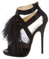 Jimmy Choo Feather-Trimmed Teazer Ankle Boots