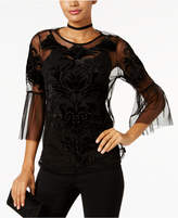 INC International Concepts Petite Embroidered Velvet Illusion Top, Created for Macy's