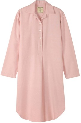 British Boxers Women's Powder Pink Herringbone Nightshirt