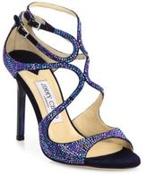 Jimmy Choo Lang 100 Memento Strappy Crystal & Suede Sandals