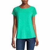 Liz Claiborne Short Sleeve Crew Neck T-Shirt-Talls