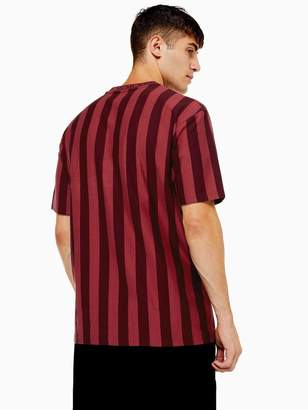 Topman Stripe T-Shirt With Slogan Collar - Burgundy