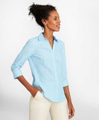 Brooks Brothers Petite Tailored-Fit Striped Linen Three-Quarter-Sleeve Shirt