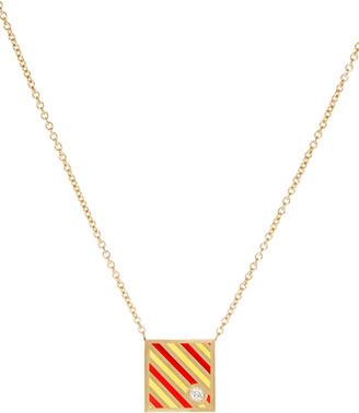 K Kane Code Flag Square Diamond Pendant Necklace - Y