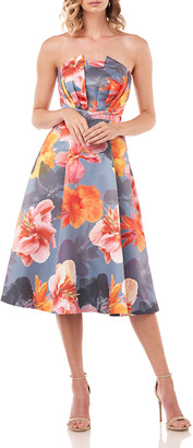 Kay Unger New York Lea Floral Mikado Strapless Midi Dress