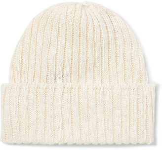 Beams Ribbed Linen And Cotton-blend Beanie - Neutrals