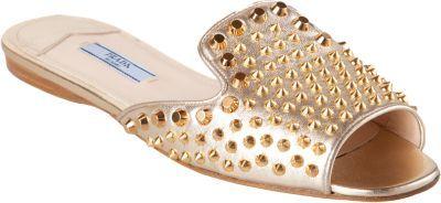 Prada Peep Toe Slip-On Studded Sandal