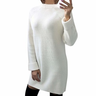 Lazzboy Womens Sweater Jumper Knitted Long Sleeve Plain Dress Tunic Top UK 8-14(L(12)