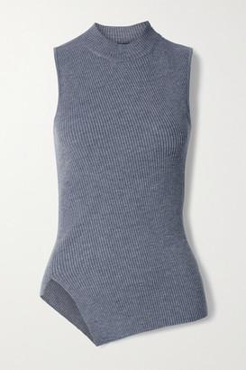 Theory Asymmetric Ribbed Wool-blend Turtleneck Top - Dark gray