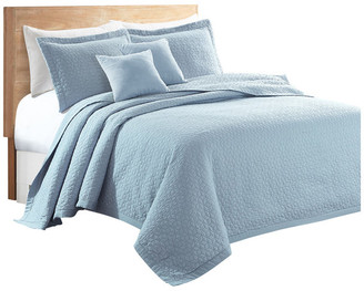Sherry Kline Out of the Box 3-piece Embroidered Quilt Set, Light Blue,
